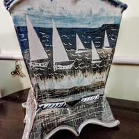 Large stoneware, slab planter, decorated with slips, oxides using stencils and sgraffito.
