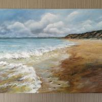 Acrylic on canvas. Inspired by the beach at Hengisbury Head in Dorset
