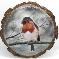 Winter Robin - Acrylic on 15cm natural wood slice, wall hanging
