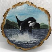 Bay Breach - Acrylic on 15cm natural wood slice, wall hanging