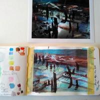 Sketchbook pages and photo of Bronze Age Causeway, Flag Fen, Lincs.