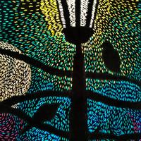 Two birds and street lamp. 2020. Embroidery silks on black cloth. 21 cm by 16 cm.