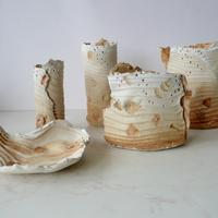 Five stretch clay forms