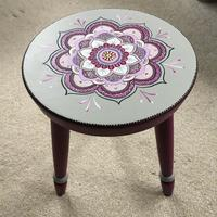 'Mandala' - handprinted on wooden stool with chalk and acrylic paints