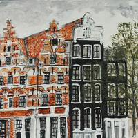 Amsterdam. Oil on canvas in white wooden frame. H 30cm x 33cm