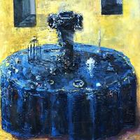 Blue table, oil painting on wooden canvas, 10x8 inches