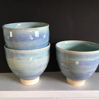 Stoneware; blue and turquoise glaze; watch this space for a new range of speckled and dark glazes.