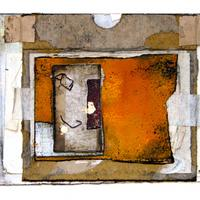 What Remains Connects Us - framed mixed media collage on watercolour paper