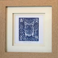 Wild Boar: wood engraving print