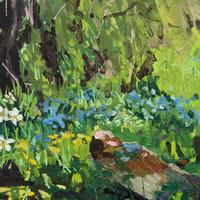 Spring with Cowslips, Forget-Me-Nots, bluebells, Tree stump and Butterfly! Oil on Canvas. 30cm x 30 cm