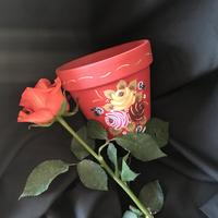 'Canal Roses' Painted on a terracotta plant pot using acrylic paints