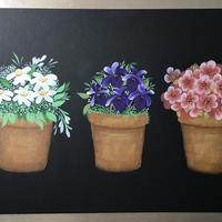 'Flower Pots' painted on mount board with acrylic paints
