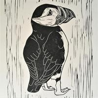Puffin Linocut - this little chap is called Jack Puffin!