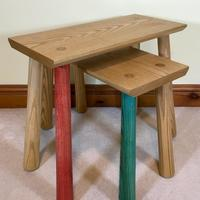Simple Splayed Leg Ash Tables with a bit of a Quirk, Table Top Sizes 510x228mm, Heights 435mm & 365mm, (Guide Prices £255.00 Pair)