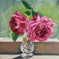 2 Roses from my Mother's Garden. Oil on Canvas 25cm x 30cm