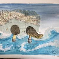 Pen and watercolour illustration with map