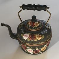 Old Fashioned Kettle - decorated with Canal Roses using enamel and acrylic paints.