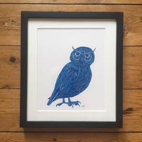 Owl is a two layer linocut print