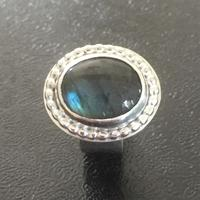 Silver and labradorite cocktail ring