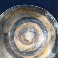 "Stoneware bowl approx 12"" diameter with oxides and transparent glaze."