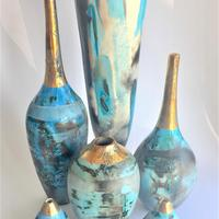 A group of blue smoke-fired pots. tall one at the back is 40cm high.