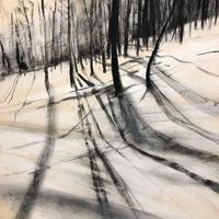 Winter Sun. Charcoal and acrylic on paper. 47cm w x 56cm h