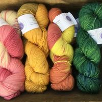 Blueface Leicester sock yarn in natural dyes