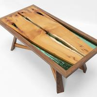 Coffee Table in Yew, American Black Walnut and Spectrum Glass