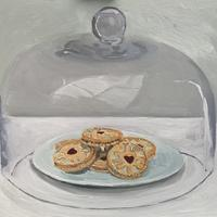 Oil Painting of Jammy Dodgers under Glass Dome.  Oil Painting on Board. 60cm x 80 cm