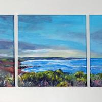 Landsend From Carngloose, Acrylic  on Canvas Tryptic