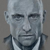 Mark Strong - Commission piece - Grey scale prismacolor pencils on Clairefontaine paper