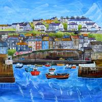 Original painting-Mevagissey Harbour. Framed in triple white moulding with art glass 46cm x 46cm. £395.00