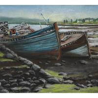 """Pastels, 16""""x 12"""". Two former fishing boats on the Sound of Mull that seem to be waiting for someone to take care of them and put them back to sea."""