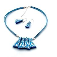 Neon Blue/White Crackle Triangles Necklace & Earrings