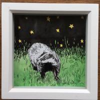 Night Badger, pencil and ink, framed 15cm x 15cm £35 including postage.