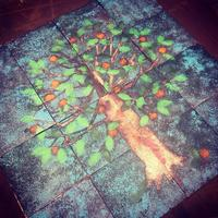 Orange Tree - 600mm x 600mm set on metal frame 1m x 1m  for use outdoors