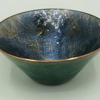 high fired enamel on spun copper bowl with gold lustre detail.