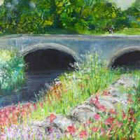 A summer moment in acrylics and mixed media
