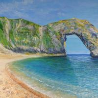A searing hot day on the beach, Durdle Door. Acrylics