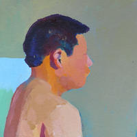 Oil Painting of a Boy.  Oil Painting on Board. 30cm x 30 cm