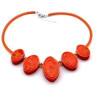 Paradise Peach Ovals Necklace