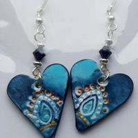 Sterling silver earrings with handmade polymer clay drops