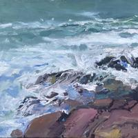 Oil Painting of The Sea at Polzeath.  Oil Painting on Board. 60cm x 80 cm