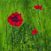 Poppies. Mixed Media on Board