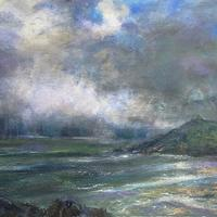 Rainstorm off the island, St Ives.  50x40cm on board.