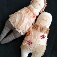 Hand made art dolls - calico, linen, lace, embriodery