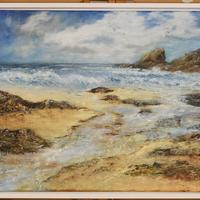 Acrylic and texture on canvas in a tray frame. Inspired by, Trevone Bay in Cornwall. £200
