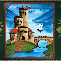 'Roses and Castles' Enamel paint on section board.