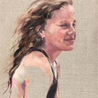 Commissioned portrait of Rosie. Oil on linen. 30cm x 40cm.