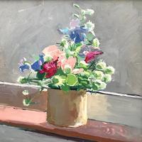 Cornish Flowers in small pot. 40cm x 40cm Oil on Board